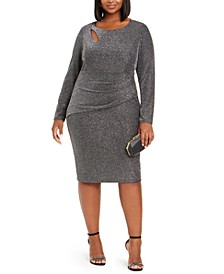 Plus Size Glitter Keyhole Dress