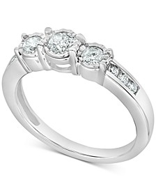 Diamond Three-Stone Ring (1/2 ct. t.w.) in 14k White Gold