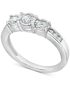 Diamond Three-Stone Ring (1/2 ct. t.w.) in 14k White Gold