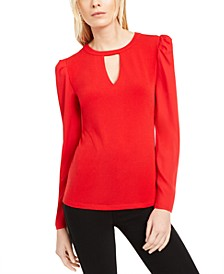 INC Keyhole Puff-Sleeve Blouse, Created for Macy's
