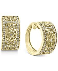 "EFFY® Diamond Filigree Small Huggie Hoop Earrings (3/8 ct. t.w.) in 14k Gold, 0.6"""