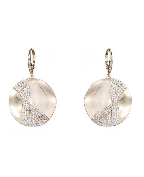Nina Wavy Disk Drop Earrings
