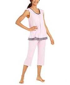 Women's Striped Capri Pants Pajama Set