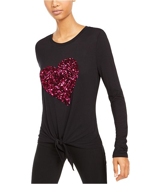 INC International Concepts INC Sequin-Heart Top, Created For Macy's