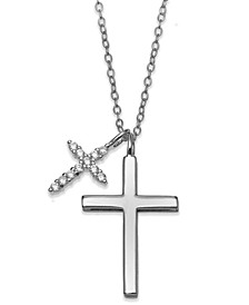 "Cubic Zirconia Double Cross 18"" Pendant Necklace in Sterling Silver"