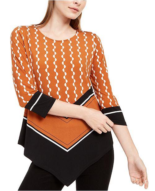 Alfani Printed 3/4-Sleeve Pointed-Hem Top, Created for Macy's