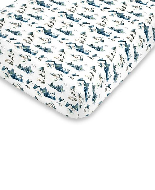 NoJo Mountain Watercolor Fitted Crib Sheet