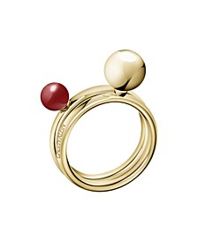 Bubbly Stainless Steel PVD Champagne Gold Red Coral Stone Ring Set