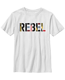 Big Boys Rebel Pattern Text Short Sleeve T-Shirt