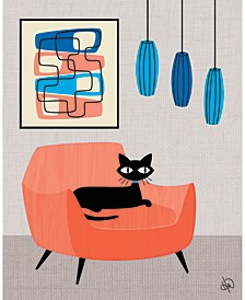 "Retro Cat Peach Chair with Blue 36"" x 24"" Canvas Wall Art Print"