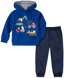 Little Boys 2-Pc. Trucks Fleece Hoodie & Sweatpants Set