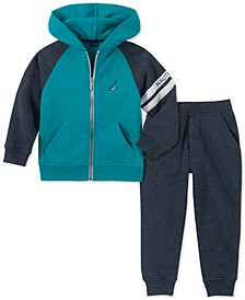 Little Boys 2-Pc. Colorblocked Full-Zip Fleece Logo Hoodie & Sweatpants Set