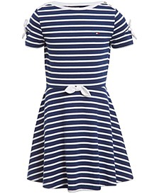 Little Girls Striped Tie-Sleeve Dress