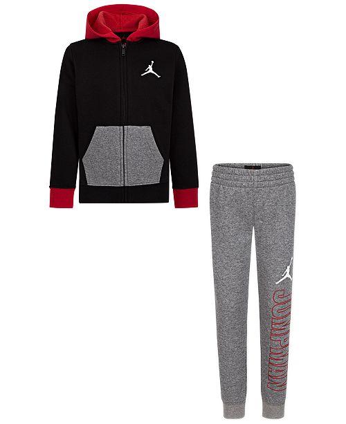 Jordan Little Boys 2-Pc. Colorblocked Fleece Hoodie & Jogger Pants Set