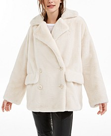 Kate Faux-Fur Double-Breasted Coat