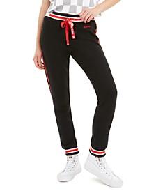 Juniors' Striped Graphic Jogger Pants