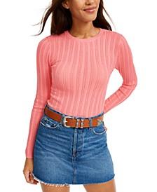 Juniors' Pointelle Sweater