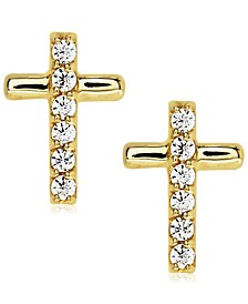 Children's Cubic Zirconia Cross Studs in 10k Yellow Gold