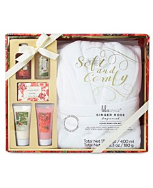 Lila Grace White Robe & Bath Set In Red Floral Gift Box, Online Only
