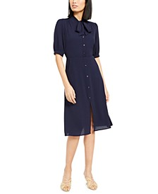 Petite Tie-Neck Shirtdress