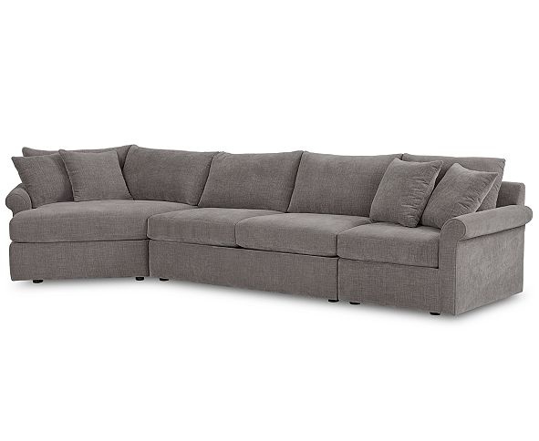 Furniture Wedport 3-Pc. Fabric Sectional Sofa with Armless Apartment Sofa and Cuddler, Created for Macy's