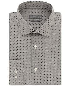 Men's Slim-Fit Performance Stretch Dot-Grid Dress Shirt