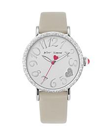 Women's Textured Bezel Grey Leather Strap Watch 38Mm