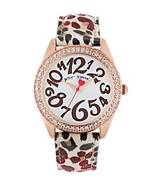 Women's Leopard Leather Strap Watch 40Mm
