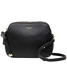 Dukes Plalce Medium Pebble Leather Ziptop Crossbody