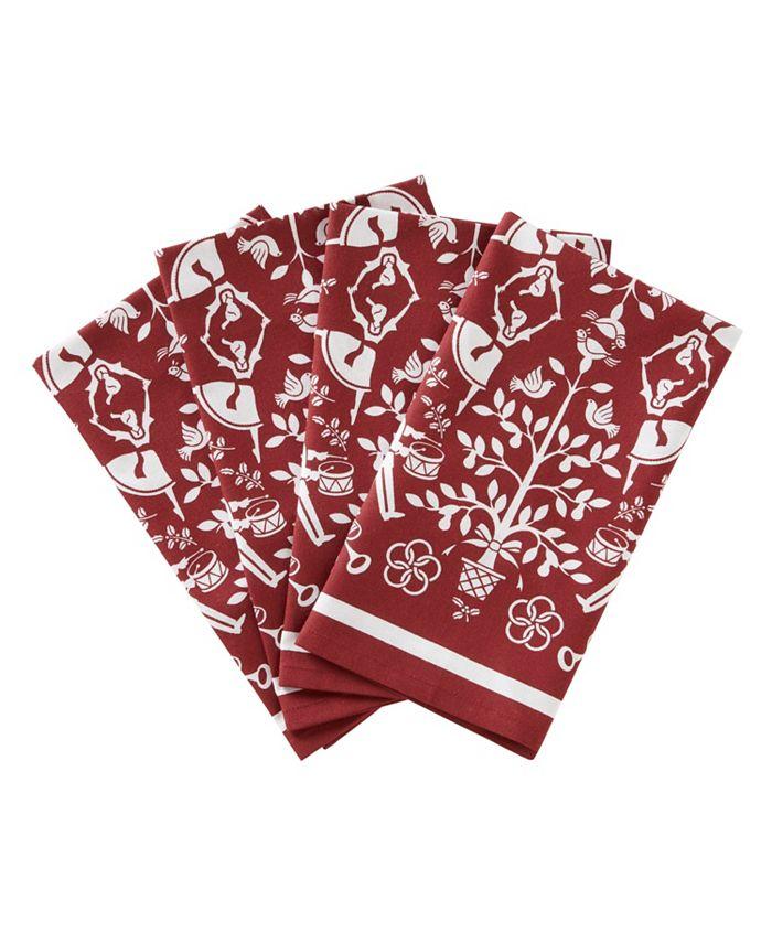 SKL Home - Christmas Carol 4pc Napkin Set in Red