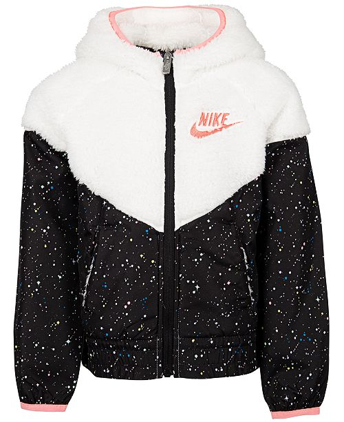 Nike Toddler Girls Faux Fur Printed Windrunner Jacket