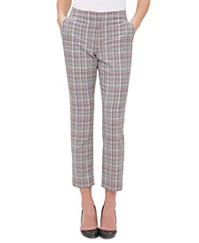 Plaid Slim-Leg Ankle Pants