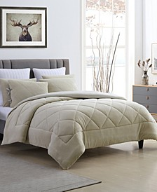 Fleece and Microfiber Reversible Full/Queen Comforter Set
