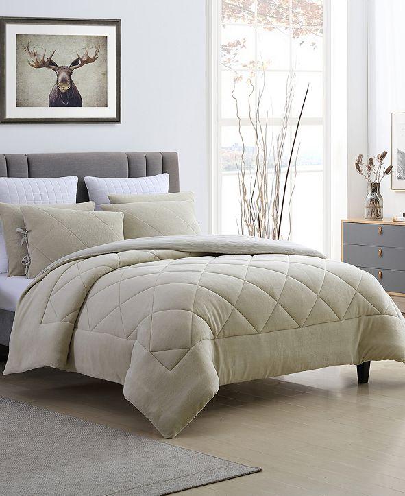 Cathay Home Inc. Fleece and Microfiber Reversible Full/Queen Comforter Set