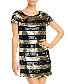Sequin Striped Mini Dress