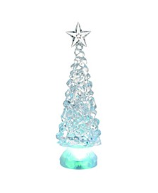 Plastic Small Clear Christmas Light Up Classic Shimmer Trees - Set of 2
