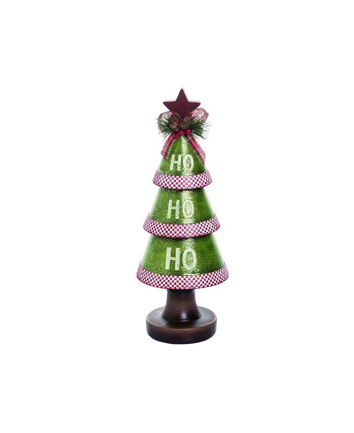 Trans Pac - Resin Small Green Christmas HO-HO-HO Tree