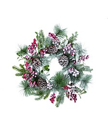 "24"" Green Christmas Berry Wreath"