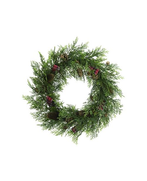 "Trans Pac Pinecone 22"" Green Christmas Wreath"