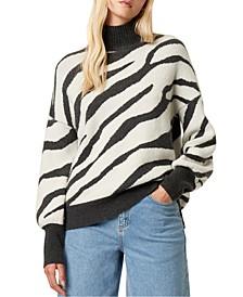 Turtleneck Zebra Print Sweater