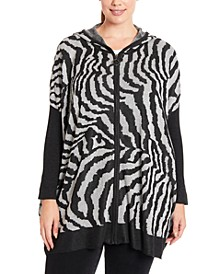 Plus Size Zebra-Knit Hooded Zip-Front Poncho