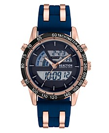 Men's Blue Silicon Strap Analog-Digital Watch, 46mm
