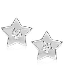 Children's Diamond Accent Star Stud Earrings in Sterling Silver