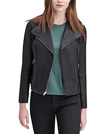 Felix Leather Knit-Panel Moto Jacket