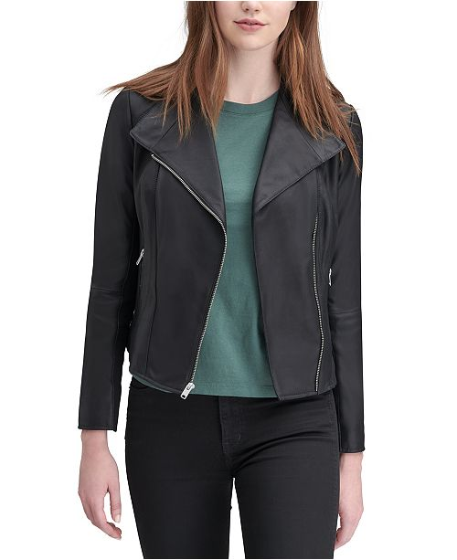 Marc New York Felix Leather Knit-Panel Moto Jacket