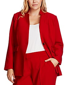 Plus Size One-Button Notch-Collar Blazer