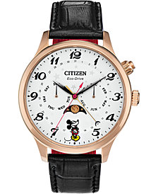 Disney by Citizen Eco-Drive Men's Classic Black Leather Strap Watch 43mm
