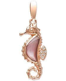 "Mother-of-Pearl & White Sapphire (1/20 ct. t.w.) Seahorse 21"" Pendant Necklace in Rose Gold-Plated Sterling Silver"