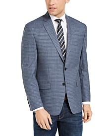 Men's Classic-Fit UltraFlex Blue Grid Sport Coat