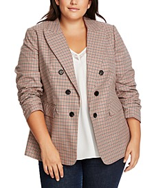 Trendy Plus Size Ruched-Sleeve Plaid Blazer